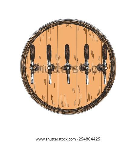 Hand drawn Wooden beer barrel isolated illustration Vector sketch - stock vector