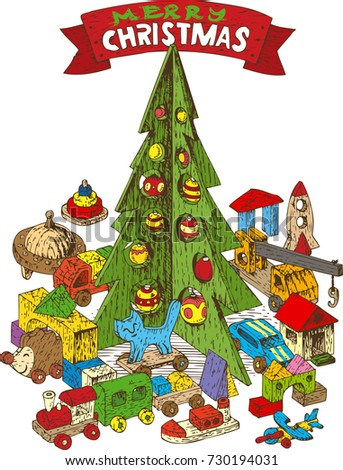Xmas board game vector stock images royalty free images for Red and yellow christmas tree
