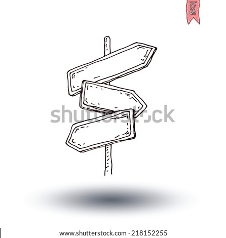 Hand drawn wooden road signs. illustration. - stock vector