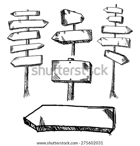 Hand drawn wooden road signs pointing in different and opposite directions. Vector illustration. - stock vector