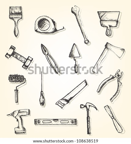 Hand drawn working tools - stock vector