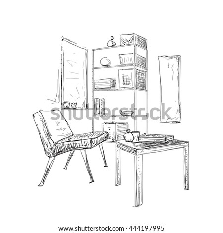 furniture sketch set hand drawn classic home office stock vector 540361465