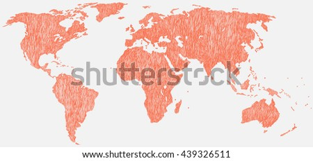 Hand drawn world map earth map stock vector 2018 439326511 hand drawn world map earth map vector illustration gumiabroncs Images