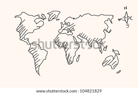 Hand drawn world map - Vector - stock vector