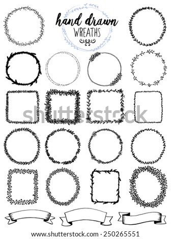 Hand drawn wreath collection - stock vector