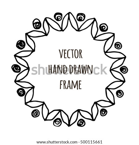 Hand drawn wreath made in vector. Leaves garlands. Romantic floral design elements for flyer and broshure design