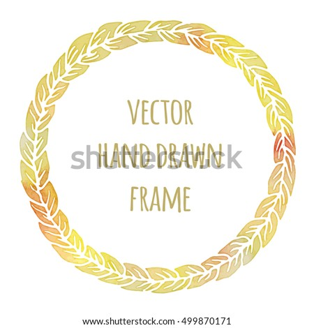 Hand drawn wreath made in vector. Leaves garlands. Romantic floral design elements with watercolor