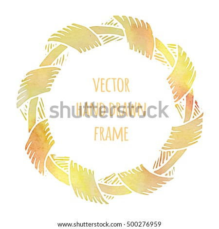 Hand drawn wreath made in vector. Leaves garlands. Romantic floral watercolor design elements for flyer and broshure design