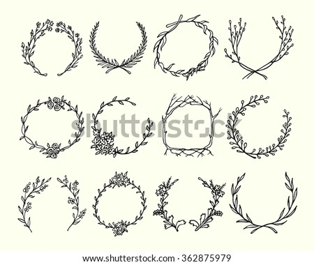 Hand drawn wreath set made in vector. Leaves and flowers garlands. Romantic floral design elements. - stock vector