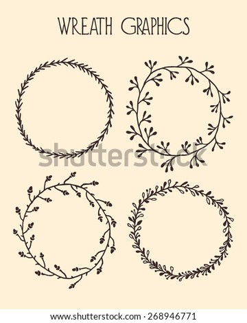 Hand drawn wreath set made in vector. Leaves and oak branch garlands. Romantic floral design elements. - stock vector