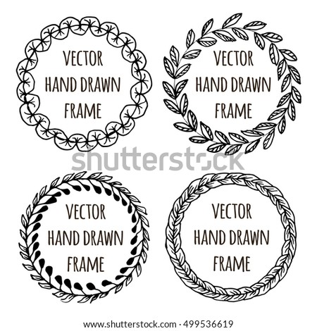 Hand drawn wreath set made in vector. Leaves garlands. Romantic floral design elements for flyer and broshure design