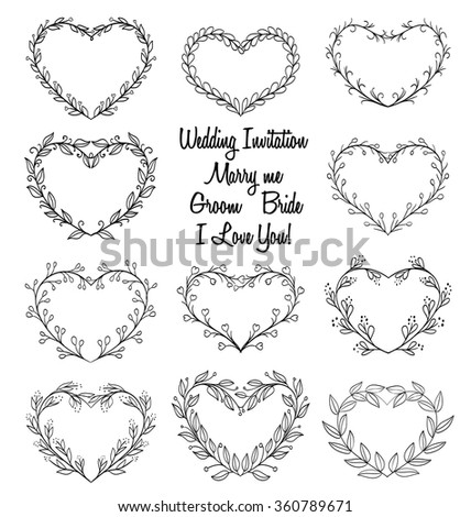 Hand Drawn Wreaths In Heart Shape Frame Doodle Vector Illustration