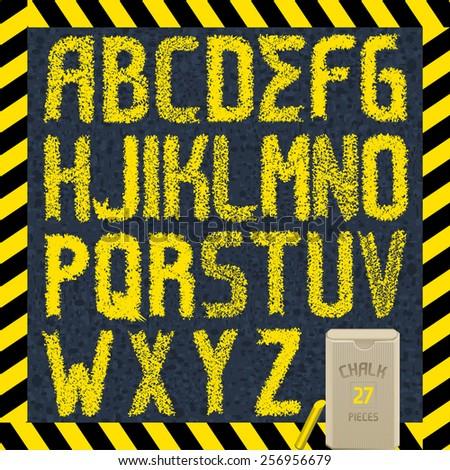 Hand drawn yellow chalk font on asphalt. Part 1/2 full CAPS abc - stock vector