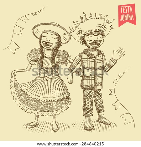 Hand drawn Young Couple - June Party / St. John's - EPS 8 - stock vector