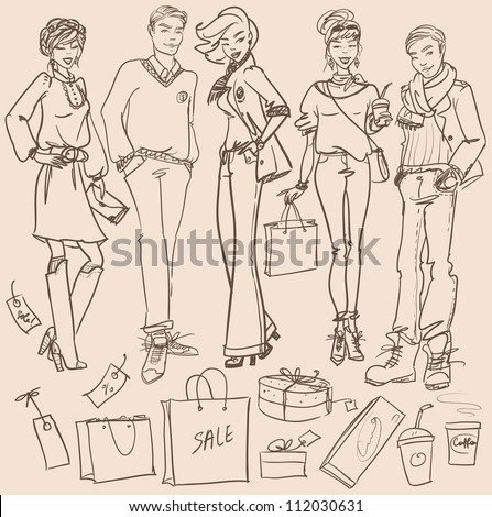 Hand drawn young women and men with shopping bags, Shopping doodles, sketch - stock vector