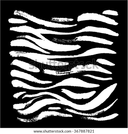 Hand drawn Zebra print - vector - stock vector