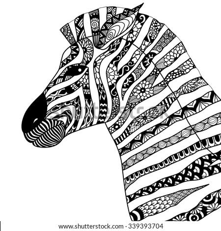Kleurplaten Voor Volwassenen Zebra Hand Drawn Zebra Zentangle Style Coloring Stock Vector
