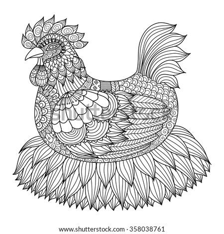 Hand Drawn Zentangle Chicken Coloring Book Stock Vector (2018 ...