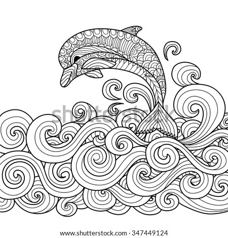 hand drawn zentangle dolphin scrolling sea stock vector 347449124 shutterstock. Black Bedroom Furniture Sets. Home Design Ideas