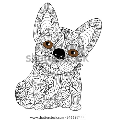 Hand Drawn Zentangle French Bulldog Puppyfor Coloring Page