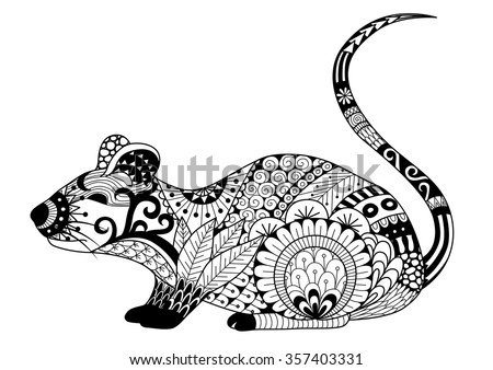 Hand Drawn Zentangle Mouse For Coloring Book Adult And Other Decorations