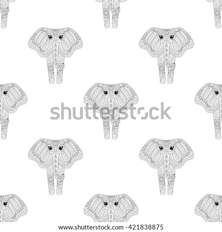 Hand drawn zentangle Ornamental Elephant seamless pattern for adult coloring pages, fabric, post card, t-shirt print. Indian or African Animal illustration in doodle, boho style, henna tattoo design. - stock vector