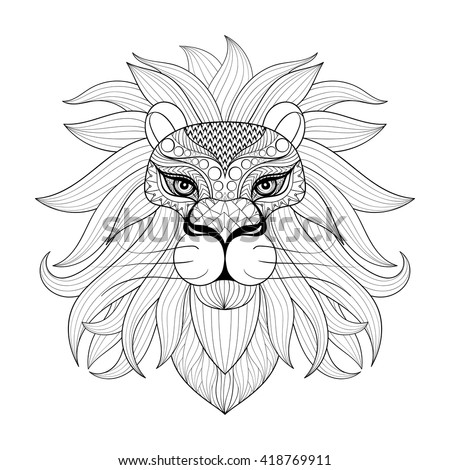 Hand Drawn Zentangle Ornamental Lion For Adult Coloring Pages Post Card Mehendi T