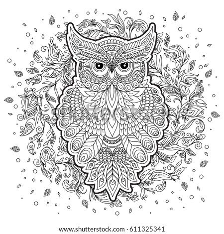 hand drawn zentangle owl bird totem for adult coloring page in zentangle style for
