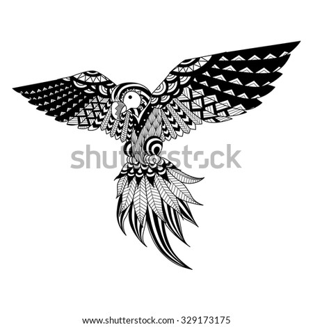 Hand drawn zentangle parrot for coloring book,tattoo,shirt design, logo and so on