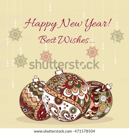 Hand Drawn Zentangle Pattern With New Year Balls Zen Tangle Style Use For