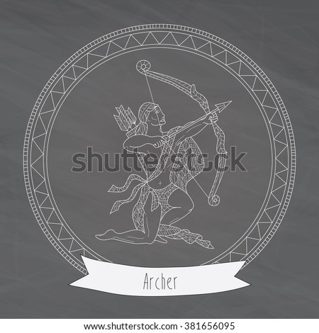 Hand-drawn zodiac archer with ethnic floral and geometric doodle pattern. Horoscope symbol for your use. For tattoo art, vector illustration, isolated on a chalkboard - stock vector