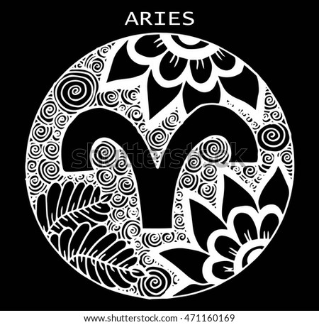 Hand drawn. Zodiac sign aries. Vector illustration