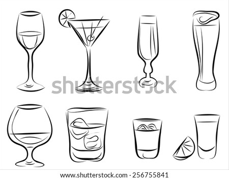 Hand drown Sketch. Set with different cocktails. - stock vector