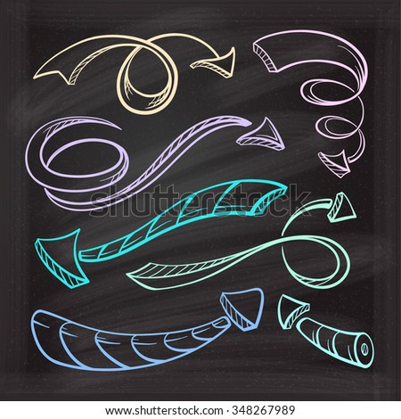 Hand drown vector color sketches of twisted arrows on a chalk background - stock vector
