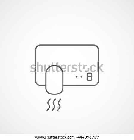 Hand Dryer Line Icon On White Background