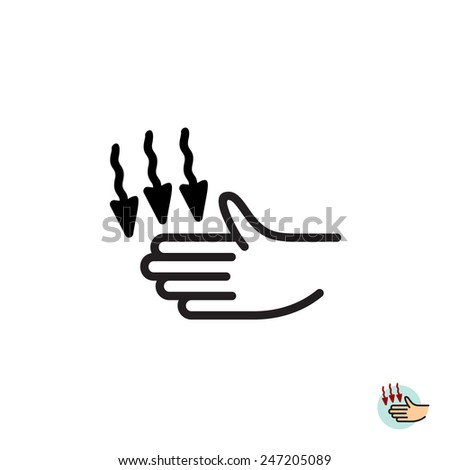 Hand dryer vector icon. Warm air blower sign. - stock vector