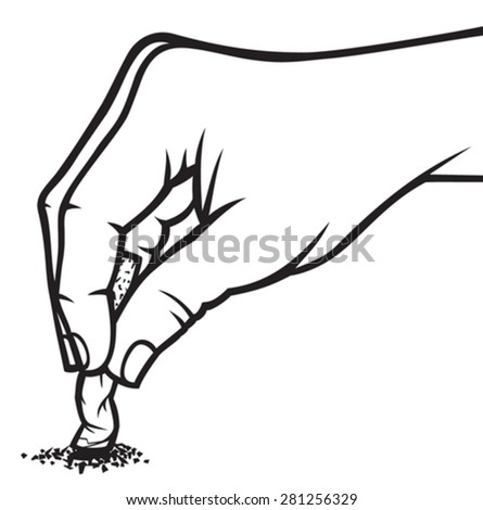 hand extinguishing a cigarette (hand extinguish a cigarette) - stock vector
