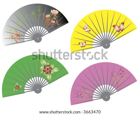 Chinese Fan Vector Hand Fan Stock Vector