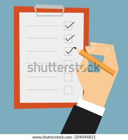 Hand filling checklist on clipboard - stock vector