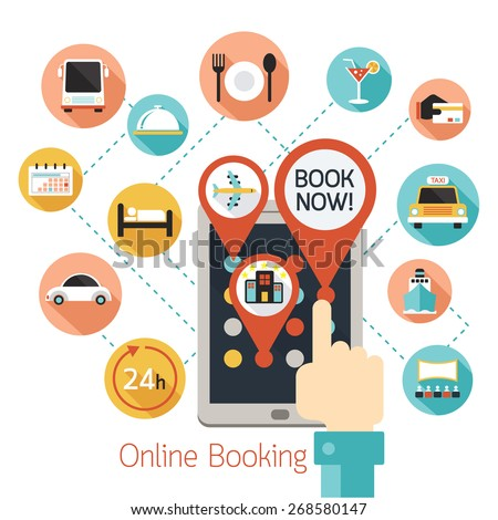 Hand finger touch tablet online booking stock vector for Tablet hotel booking