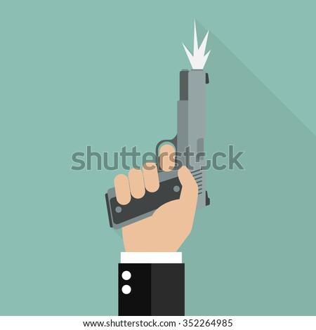 Hand firing a gun for starting race. Business startup concept - stock vector
