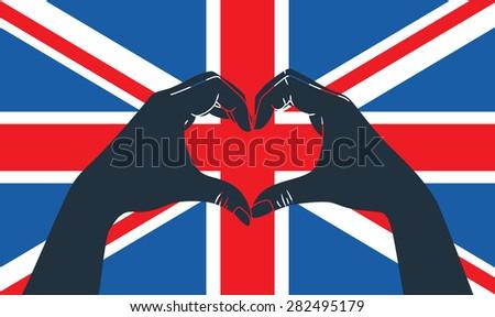 hand fist against grunge England flag - stock vector