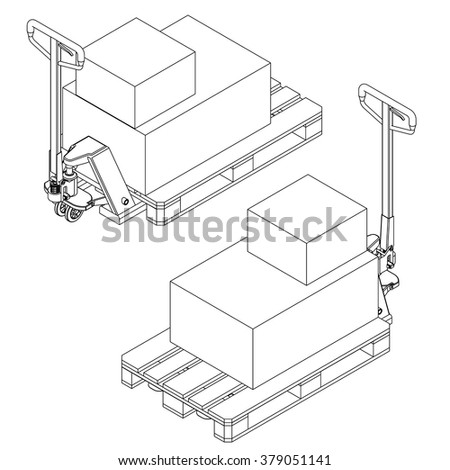 hand fork lift truck and pallet isometric outline drawing - stock vector