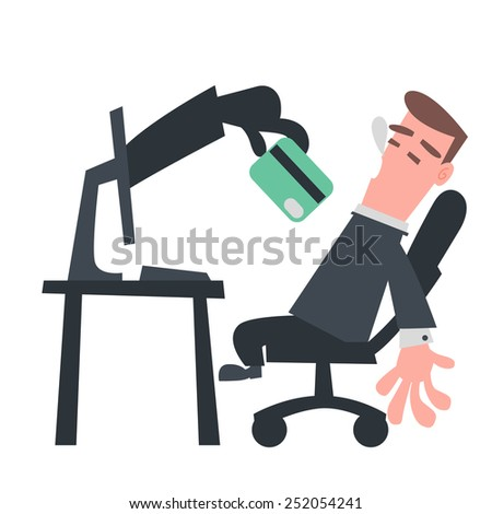 Hand from Computer Stealing Credit Card - stock vector