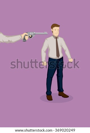 Hand from the side pointing a gun at office worker. Vector illustration on being made redundant at work concept isolated on plain background. - stock vector