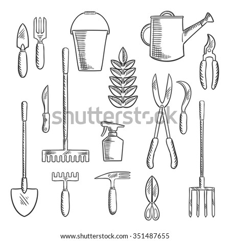 Hand gardening tools sketched icons with trowel, knife, fork, shears, rake, scissors, spray bottle, weeding hoe, sickle and watering can. Sketch style objects - stock vector
