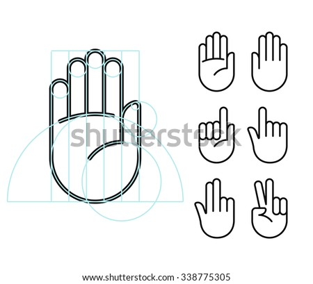 Hand gesture line icon set in modern geometric style with construction lines. Isolated vector illustration of human hands. - stock vector
