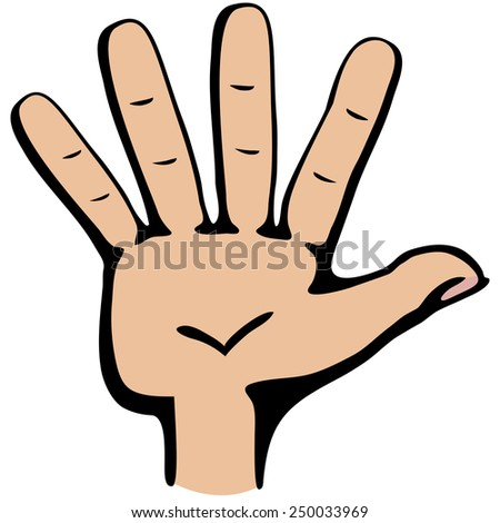 Hand gesture number five closeup isolated on a white background - stock vector