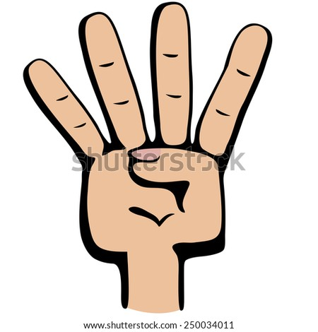 Hand gesture number four closeup isolated on a white background - stock vector
