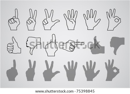 hand gesture (numbers and rating) - stock vector